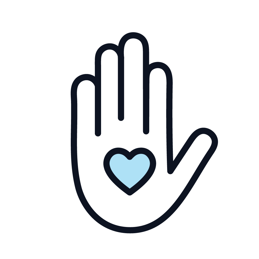 Simplified outline of a hand with a blue heart in the palm