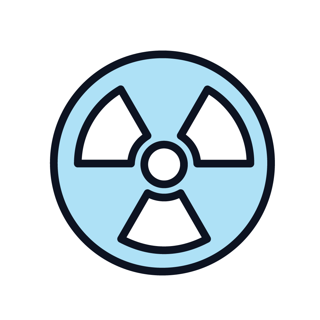 This is an icon displaying radiation treatment.
