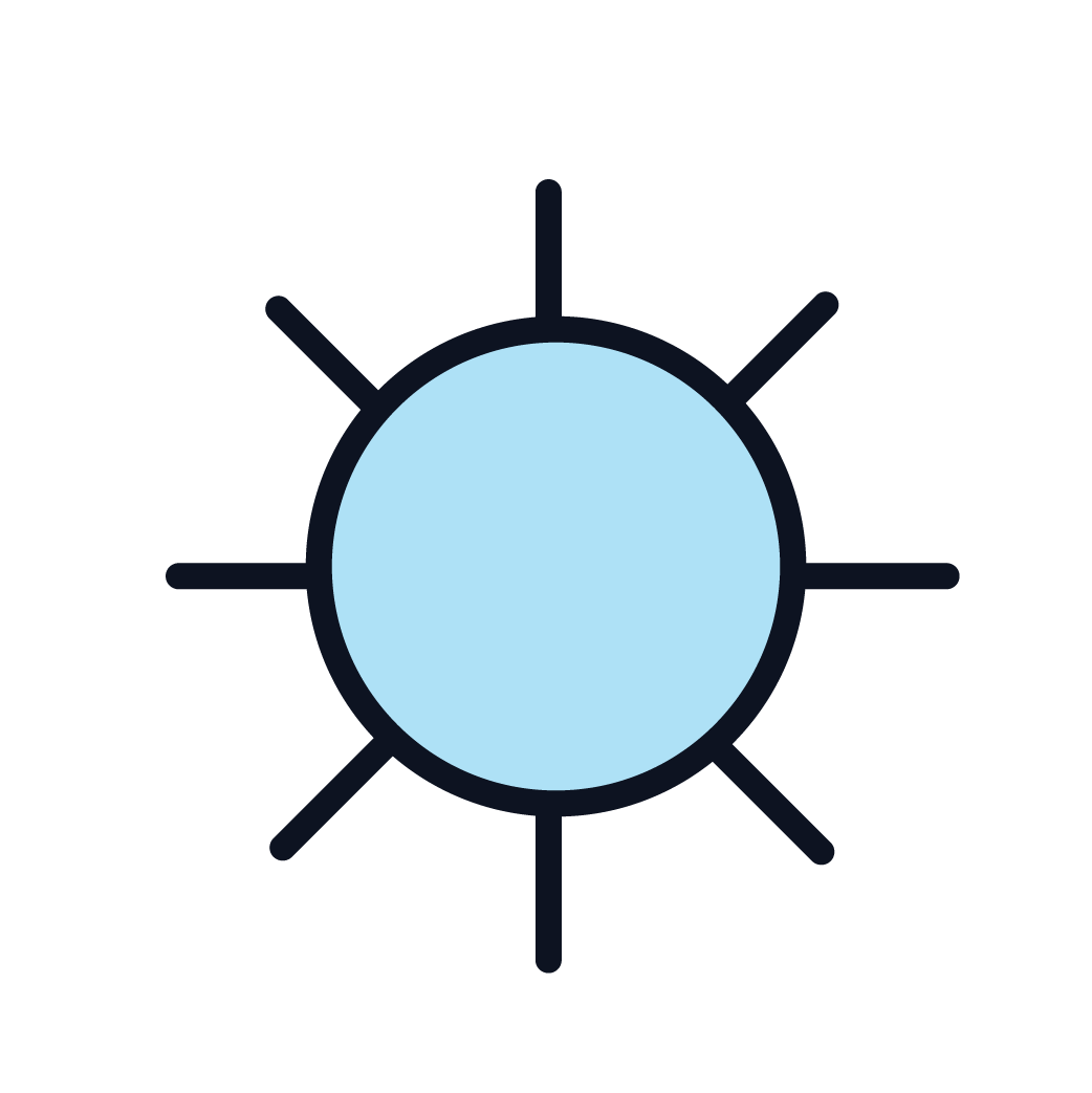 An icon of the sun representing healthy air.