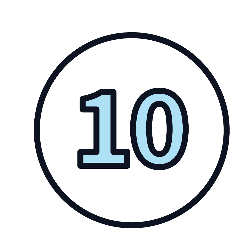 This is an icon of the number 10.