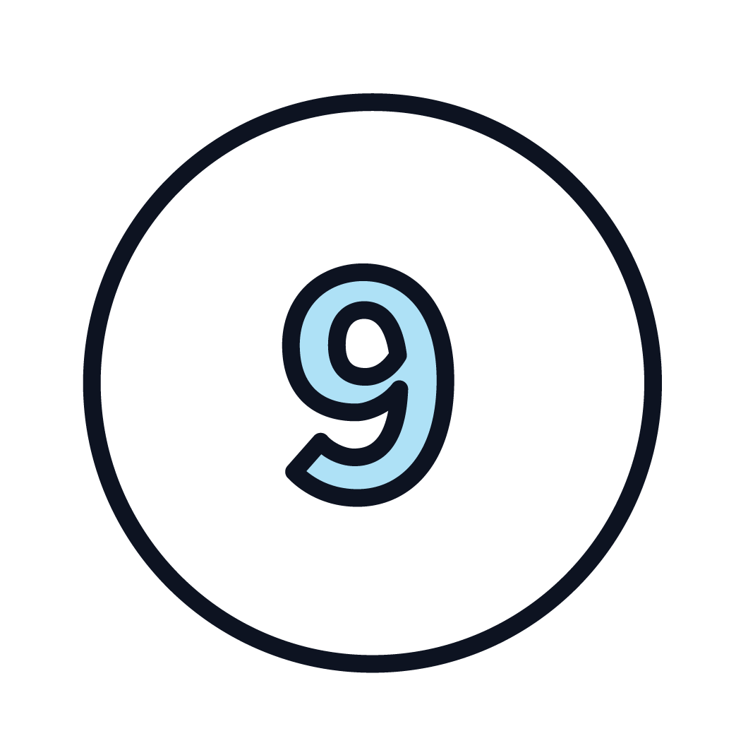This is an icon of the number 9.