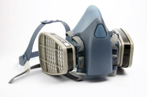 blue construction respiratory mask for PPE on white background
